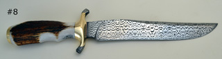 "300 layer laddered W pattern 8"" Damascus blade and Damascus guard ends"